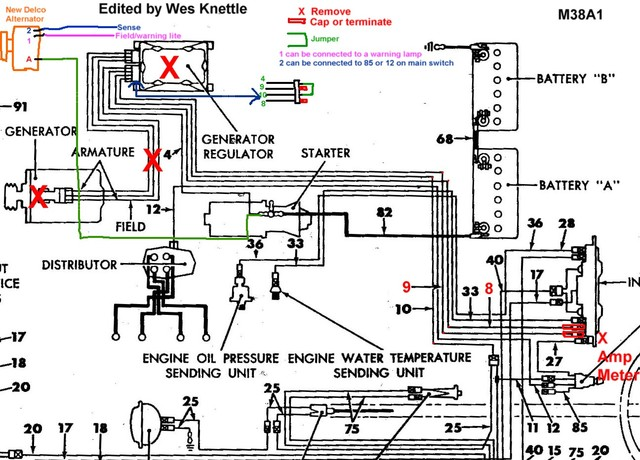 willys m jeeps forums viewtopic alternator conversion here are a couple of wiring diagrams that show both ways they are m38a1 diagrams but are essentially the same for our purposes