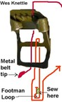 Threading strap thru buckle then sew in loop for footman loop